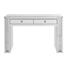 ACME Nysa Vanity Desk, Mirrored and Faux Crystals