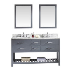 "Virtu Caroline Estate 60"" Double Bathroom Vanity, Gray, Mirrors"