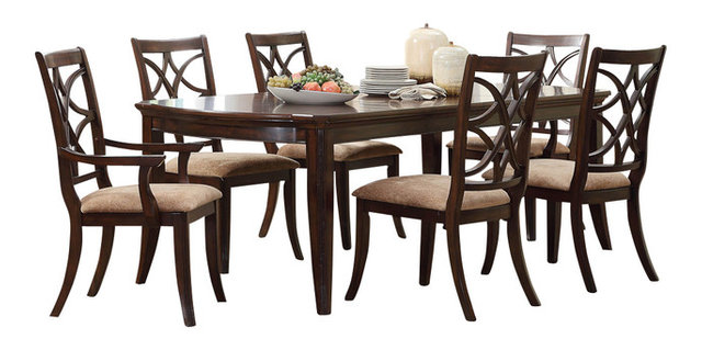 Keegan 7-Piece Dining Room Set, Brown Cherry - Transitional - Dining ...