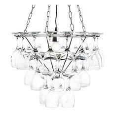 Wine Glass Chandelier, Silver, 1 Light, Silver, 3 Tier