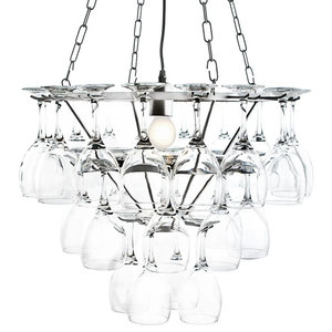 Wine Glass Chandelier, Silver, 1 Light, Silver, 3 Tier