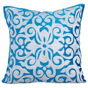 Applique 40x40 Velvet Turquoise Throw Cushions Cover, Moroccan Tile