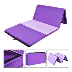 Costway 4'x10'x2'' Gymnastics Mat Thick Folding Panel Gym Fitness PurplePink