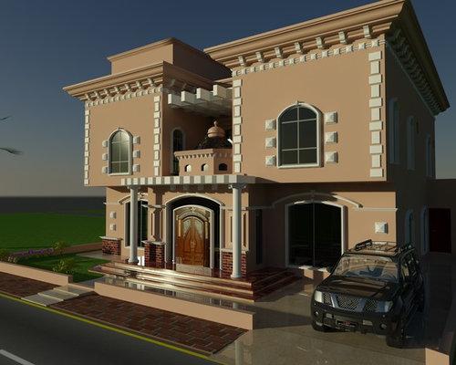 Villa House Front Elevation : Beautiful luxury saudi arabian villa d front elevation