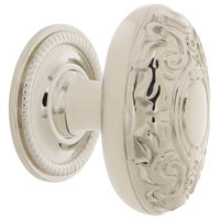 "Victorian Brass 1 3/4"" Cabinet Knob With Rope Rose, Polished Nickel"