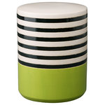 Emissary Home and Garden - Striped Garden Stool - Black and white striped garden stool with a lime green accent on the base, with a glossy glaze finish. Clean by hand to preserve the finish of the stool. Due to the hand made nature of the piece, color may vary slightly.