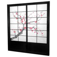 7' Tall Cherry Blossom Shoji Sliding Door Kit, Black