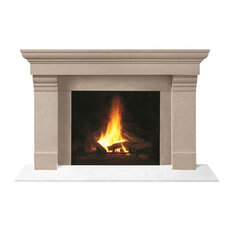 Fireplace Stone Mantel 1147.556 With Filler Panels, Buff, No Hearth Pad