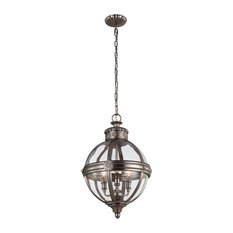 Adams Pendant Chandelier, Antique Nickel, 3 Lights