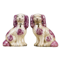 """Staffordshire Reproduction Dogs, 6"""", Red, 2-Piece Set"""
