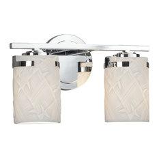Limoges Atlas 2-Light Bath Bar, Cylinder/Flat, Chrome, Banana leaf