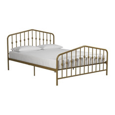 Novogratz Bushwick Metal Bed, Gold, Queen