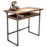 Furniture Pipeline - Berkeley Mid-Century Writing Desk, Rustic Bronze/Light Brown - Amp productivity and creativity in your home office with this industrial mid-century pipe writing desk. Its stylish mid-century lightweight design features a handy lower sustainable reclaimed/aged finished solid Paulownia (looks like Ash  lifts like cardboard!) wood shelf for extra storage  keeping supplies close at hand. Perfect for small apartments and studios where space is at a premium. This writing desk is lightweight and durable  easy to move around as needed  arriving at your doorstep with 100% recyclable packaging for a lifetime of enjoyment!