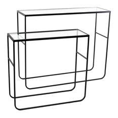 Glass Top Metal Console Tables, 2-Piece Set