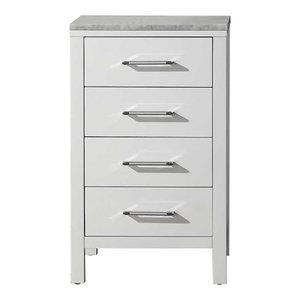 "Dior 18"" Side Cabinet, White, White, White Marble"