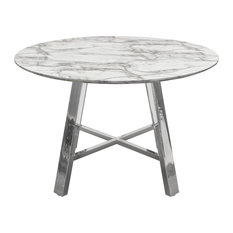 Paris 47-inch Round Dining Table With Faux Marble Top And Chrome Base