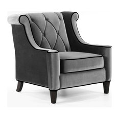 1st Avenue - Gustav Velvet Armchair, Gray - Armchairs and Accent Chairs