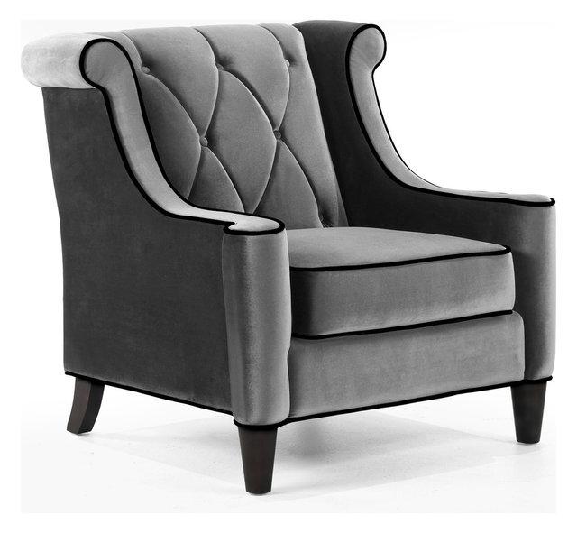 Gustav Velvet Armchair, Gray
