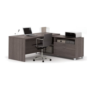 Ford Executive Desk With Filing Cabinets, Black Oak Finish ...