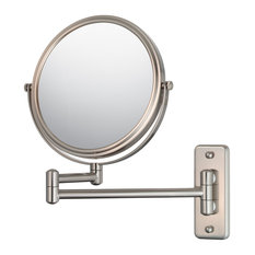 Double Arm Wall Mirror With 5x and 1x Magnification, Brushed Nickel