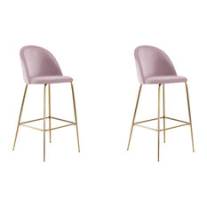 Millennial Brass Velvet Upholstered Dining Bar Stool, Blush Pink, Set of 2