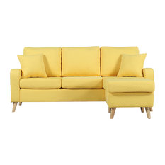 Divano Roma Furniture Modern Fabric Small E Sectional Sofa With Reversible Chase Yellow
