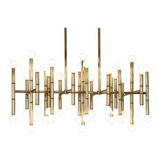 Chandelier Brass: Jonathan Adler Meurice Rectangular Chandelier, Antique Brass - Chandeliers,Lighting