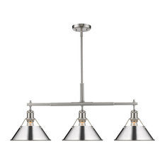 Orwell Linear Pendant, Pewter With Chrome