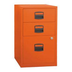 Bisley Three Drawer Steel Home or Office Filing Cabinet, Orange