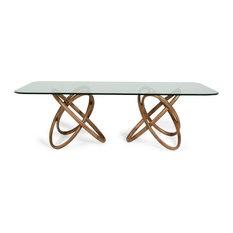 Modrest Mason Modern Glass And Walnut Dining Table