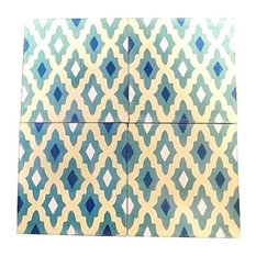"Moroccan Handmade Cement Mosaic Tiles 8""x8"" Geometric Design, Set of 12"