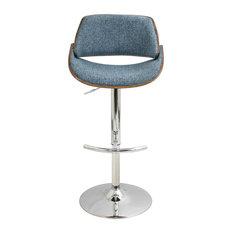 lumisource Fabrizzi Adjustable Barstool in Walnut Wood, Blue