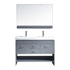 "Gloria 48"" Double Bathroom Vanity Cabinet Set, Gray"