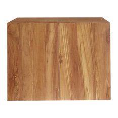 Teak Wall-Mounted Bathroom Vanity Unit, 80 cm