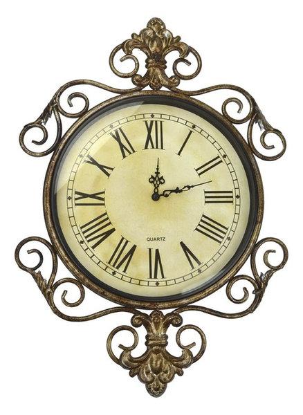 Antique Roman Metal Wall Clock In Fleur De Lis Design
