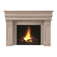 Fireplace Stone Mantel 1106.511 With Filler Panels, Buff, No Hearth Pad