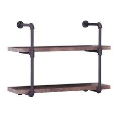 GDF Studio Caden Two Tier Faux Wood Wall-Mounted Shelf, Dark Brown/Texture Brown