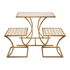 Imax Fir Wood And Iron Set Of 3 Nested Tables With Gold Finish 78228-3