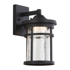 """Campo 7.75"""" Outdoor Wall Lantern Crackled Glass/Metal Integrated Sconce, Black"""