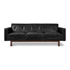 Embassy Sofa Saddle Black Leather