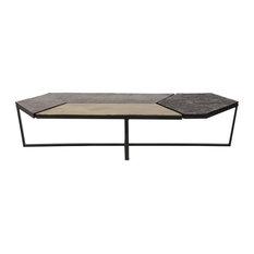 61 4 W Coffee Table Sleek Modern Low Profile Geometric Mosaic Tile Top Metal