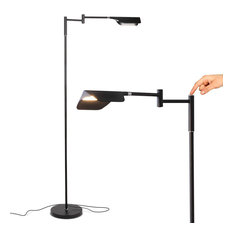 Brightech Leaf - Adjustable Pharmacy LED Floor Lamp for Reading & Crafts, Jet Bl