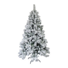 Aleko Snow Dusted Artificial Christmas Tree, 5' With Metal Stand
