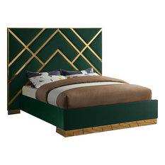 Vector Bed, Green, King, Velvet Upholstered