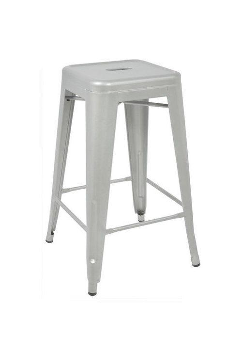 Ajax 24 Contemporary Steel Style Bar Stools Matte Silver Set Of 2 More Info