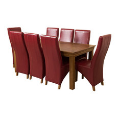 French Chateau Oak Dining Table With 8 Lola Chairs, Burgundy Leather