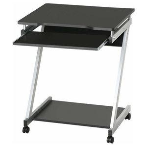 Modern Desk, MDF, Sliding Keyboard Tray, Castors Wheel, Z-Shaped Design, Black