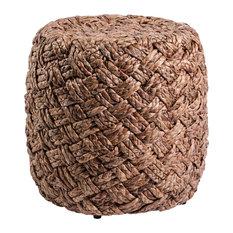 "Cavo 17.75"" Round Woven Hyacinth Stool"