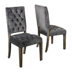 Myrtle Velvet Charcoal Dining Chairs, Set of 2