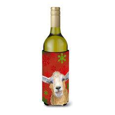 Red Snowflakes Goat Christmas Wine Bottle Beverage Insulator Hugger